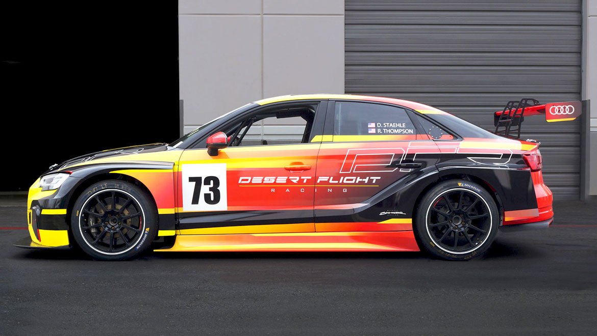 Side view of Car 73 Audi RS3 TCR race car by michael santoro