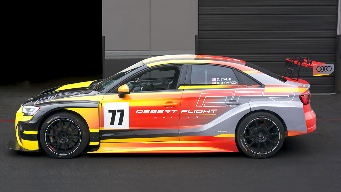 Side view of Audi RS3 race car livery design by Michael Santoro