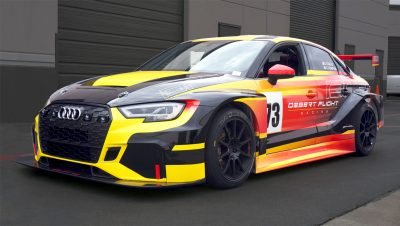 Front quarrter view of Audi RS3 TCR race car by Mcihael Santoro