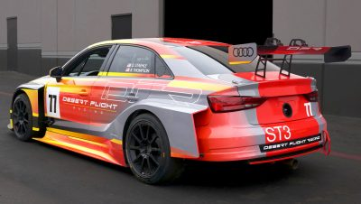 rear quarter view of car 77 Audi RS3 race car livery design by michael santoro