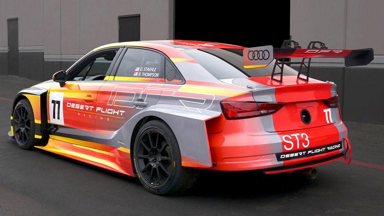 rear quarter view of car 77 Audi RS3 race car livery design by michael santoro