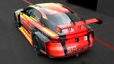Rear quarter view of the Audi RS3 race car