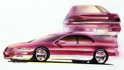 Automotive design presentaion rendering of Chrysler Cirrus sedan by Michael Santoro