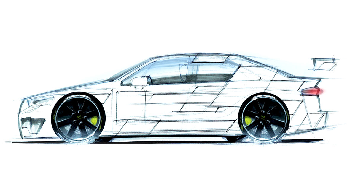 Rough sketch for race car livery design by Michael Santoro