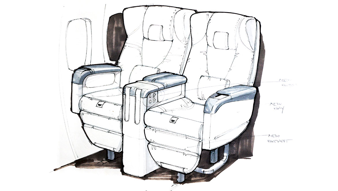 business class seat design for boeing
