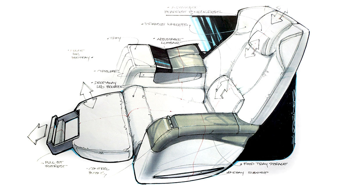 fully reclining business class seat design for boeing