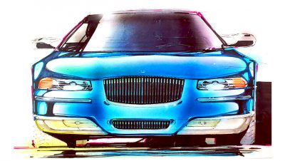 Original front end sketch for Chrysler Cirrus sedan by Michael Santoro