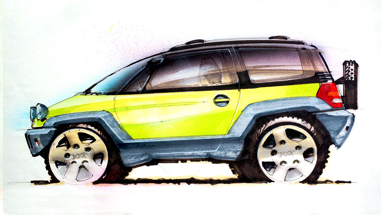 Early vehicle design sketch for Jeep Wragler
