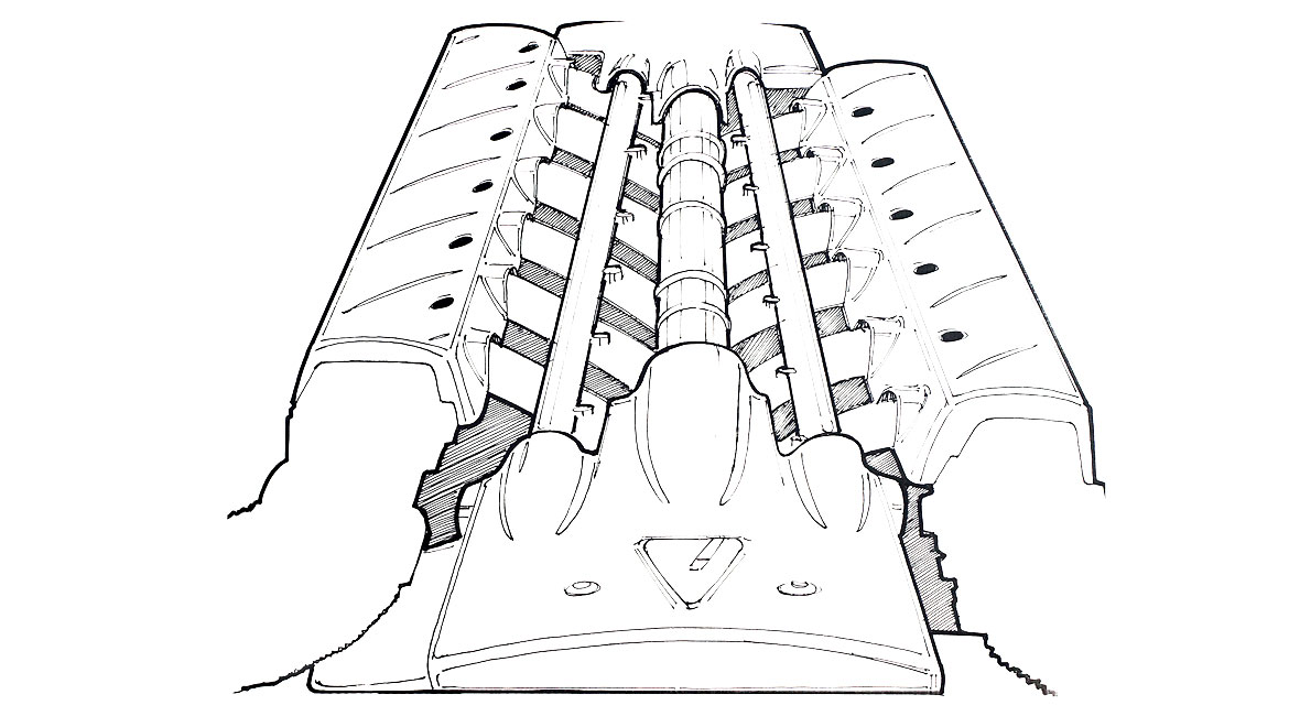 Final Engine Cover Design Drawing for Vector M12 by Michael Santoro Automotive Design Consultant