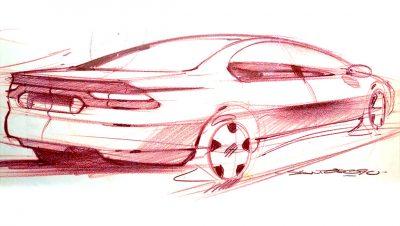 Automotive design original concpet sketch for the Chrysler Cirrus / Dodge Stratus sedans by Michael Santoro
