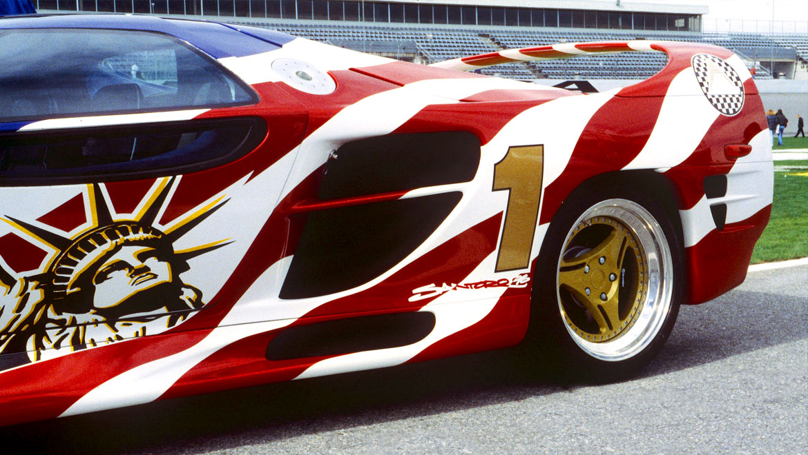 Detail of the livery design of the M12 Vector super car