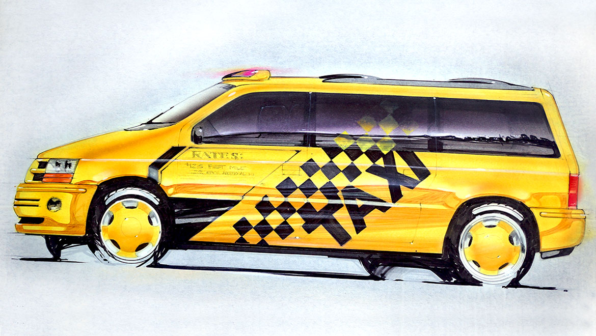 presentation rendering for chrysler minivan design by michael santoro