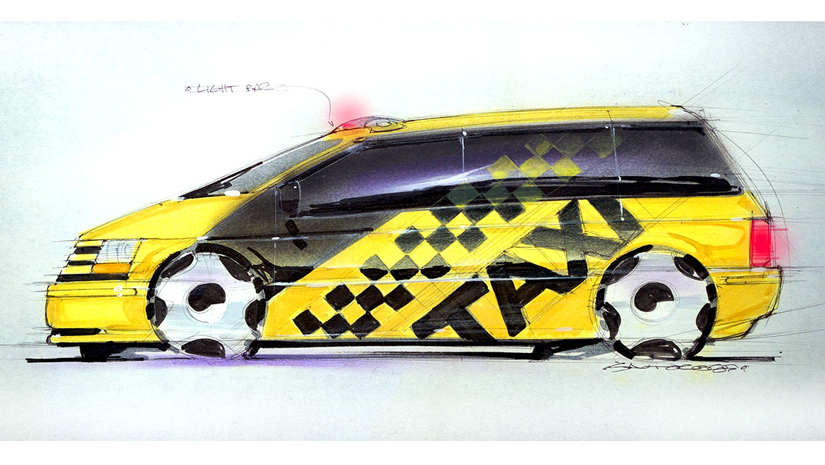 original concpet sketch for chrysler minivan design by michael santoro