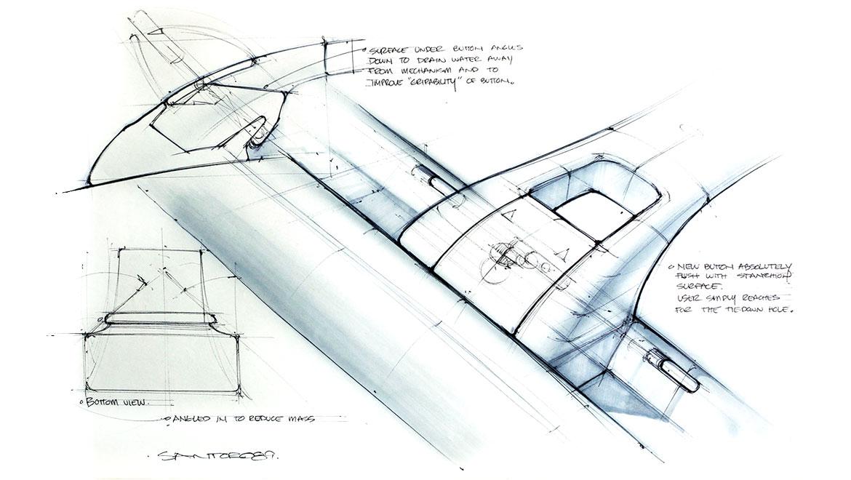 design concept sketch for automotive roof rack