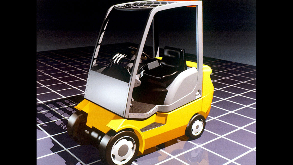 front view CAD rendering of samsung forklift design concept by michael santoro