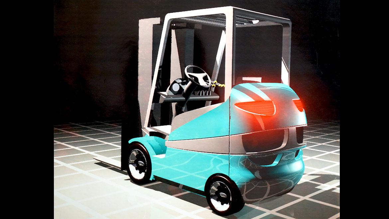 Rear veiw CAD rendering of samsung forklift design concept by michael santoro