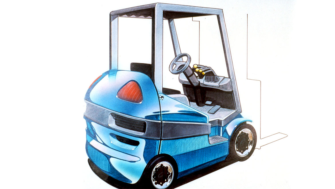 rear quater view concept sketch for samsung forklift design by michael santoro