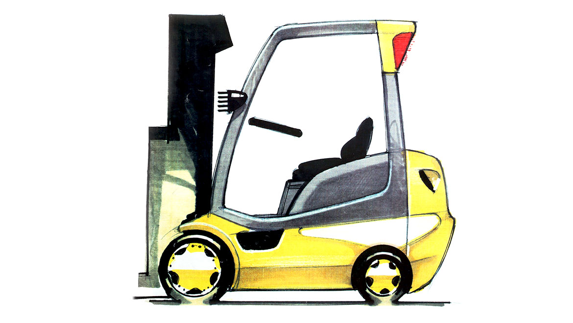 side view concept sketch for samsung forklift design by michael santoro