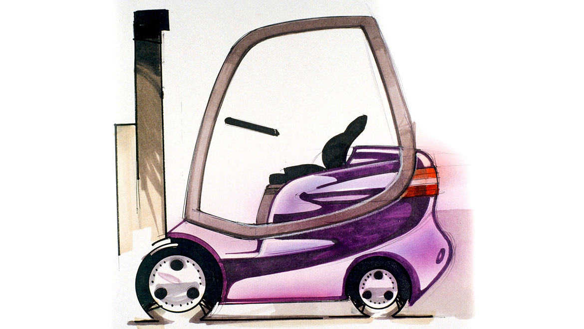 Another side view concept sketch for samsung forklift design by michael santoro