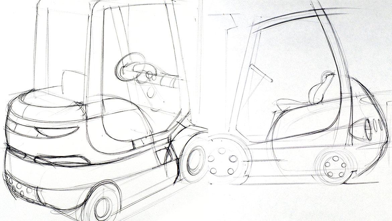Original concept sketchs for samsung forklift design by michael santoro