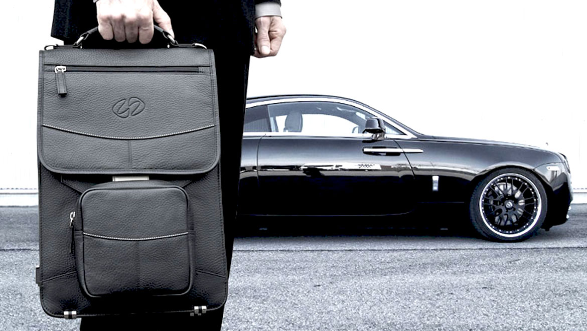 MacCase vertcial leather briefcase