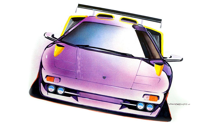 front view presentaion rendering Lamborghini Jota by michael santoro