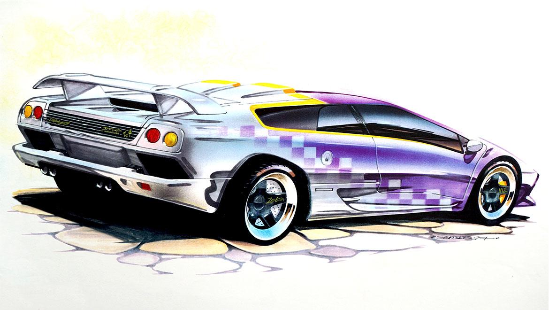 rear quater view design drawing Lamborghini Jota by michael santoro