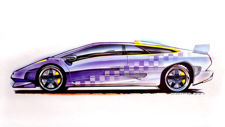 side view presentaion rendering Lamborghini Jota by michael santoro