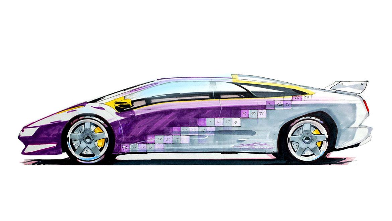 Paint breakup concept sketch for Lamborghini Diablo SE30 Jota by michael santoro