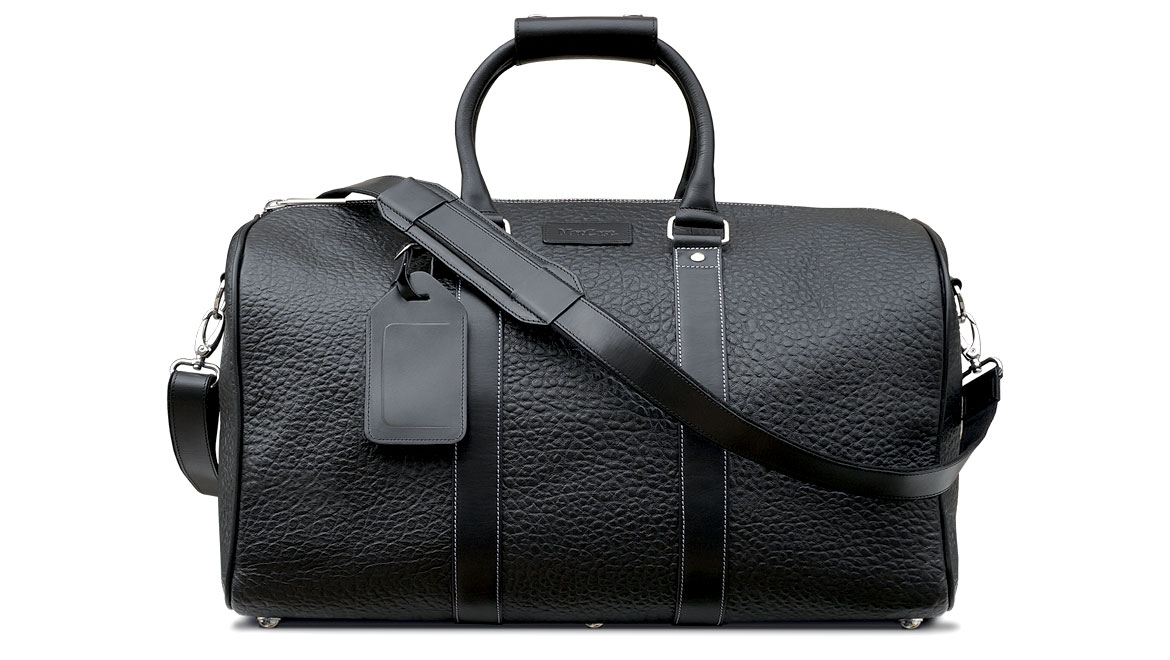 front view of leather duffle bag