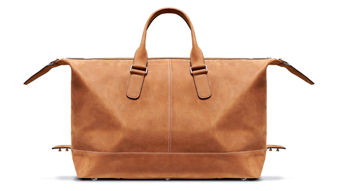 leather overnight bag by michael santoro