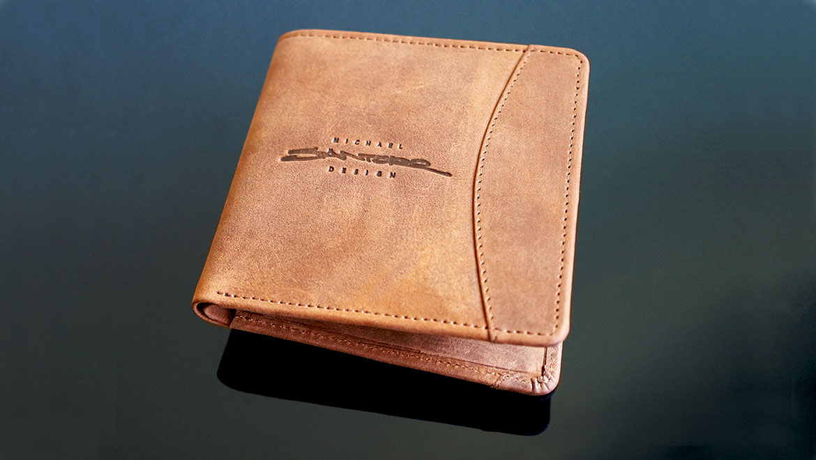 mens leather wallet by michael santoro