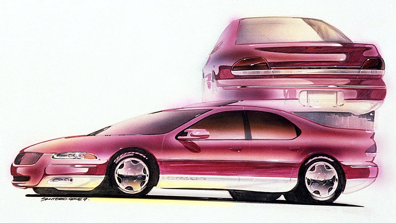Automotive design presentaion rendering of Chrysler Cirrus sedan by Michael Santoro