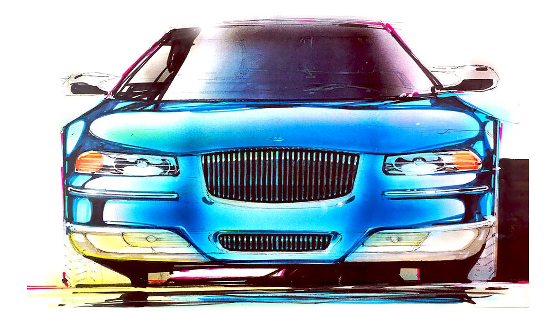 Original front end sketch for Chrysler Cirrus sedan by Michael Santoro